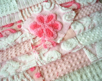 Vintage Chenille Bedspread Squares - Pretty Pinks