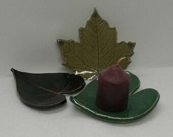 Decorative Porcelain Leaves Imprinted Set of 3