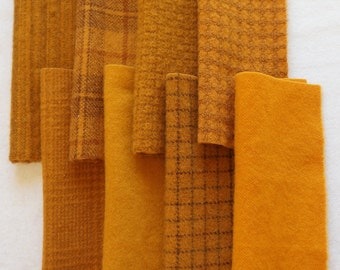 Primitive Pumpkin - Hand Dyed Felted Wool in a Beautiful Collection a Perfect Rug Hooking and Applique Wool