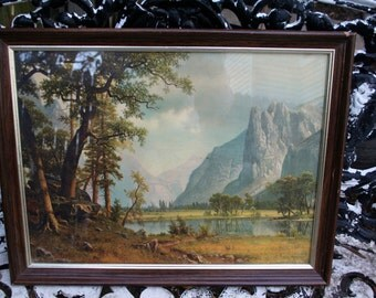 Beautiful Vintage Mountains and Lake Framed Nature Wall Picture