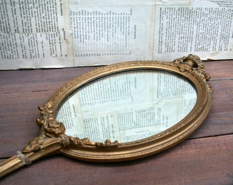 Beautiful French Ornate Antique Hand Mirror