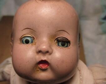 Antique Vintage Marked Signed Effanbee Doll Cloth Body Sleepy Eye CREEPY Doll halloween trick or treat decor