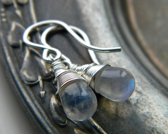 Moonstone earrings- blue flash gemstone bright sterling silver earrings - Wire wrapped jewelry handmade