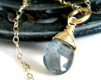 Blue gray moss aquamarine briolette necklace - Handmade wire wrapped gold filled jewelry