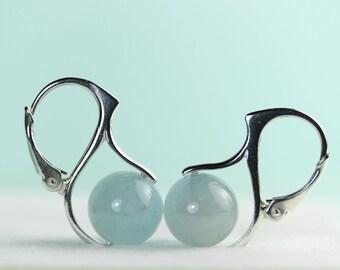 Aquamarine earrings lever back earings in sterling silver, March Birthstone, by art4ear, modern earrings, aqua blue stone, gift under 50 USD
