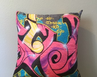 Graffiti Pillow cover, street art pillow, Denver, Colorado, urban, home decor, hip hop, pop art pillow