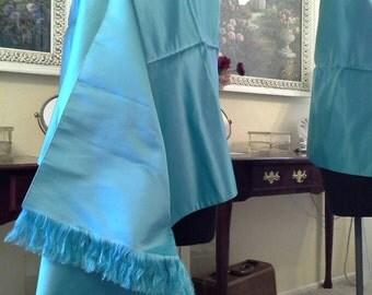 Vintage Saks Fifth Avenue Aqua Turquoise Satin Shawl Wrap