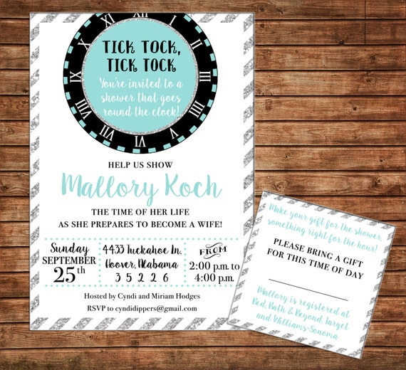 Around the Clock Bridal Bride Wedding Couples Engagement Tea Shower Party Birthday Invitation - DIGITAL FILE