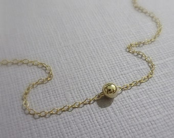 Tiny Gold Ball Necklace, Gold Filled Ball Necklace, Gold Dot Necklace, Personalized Bridesmaid Gift, Gift for Her, Gold Layering Necklace