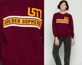College Sweatshirt GOLDEN GOPHERS University of Minnesota Sports 80s Graphic Raglan Sleeve Sweater Burgundy Yellow Vintage 1980s Medium