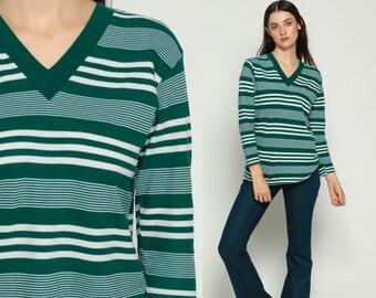 Ringer Tee Retro T Shirt Long Sleeve 80s TShirt Striped Top V Neck Shirt Green White Athletic Shirt Vintage 1980s Sports Medium Large