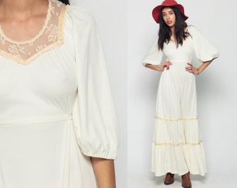 Bohemian Dress Tiered 70s Maxi Prairie Off White Crochet Lace Boho Puff Sleeve 1970s Bohemian Wedding High Waist Long Vintage Small