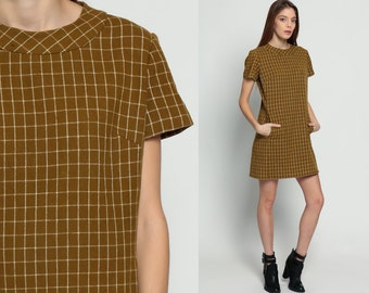 Wool Dress 60s Mini Mod Brown Plaid Checkered Print 1960s Shift Plaid Preppy POCKET Sixties Vintage Short Sleeve Minidress Large