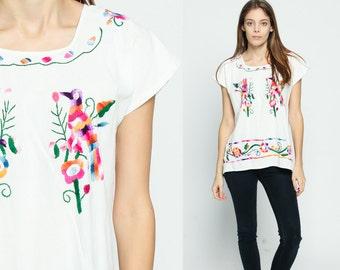 Mexican Top EMBROIDERED Blouse BIRD Hippie Boho Shirt FESTIVAL Cotton Tunic Bohemian White Floral Vintage Ethnic Tent Retro Medium Large
