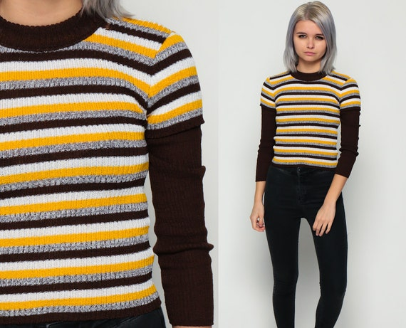 Retro Sweater Striped Sweater Ringer 80s Brown Yellow Stripe