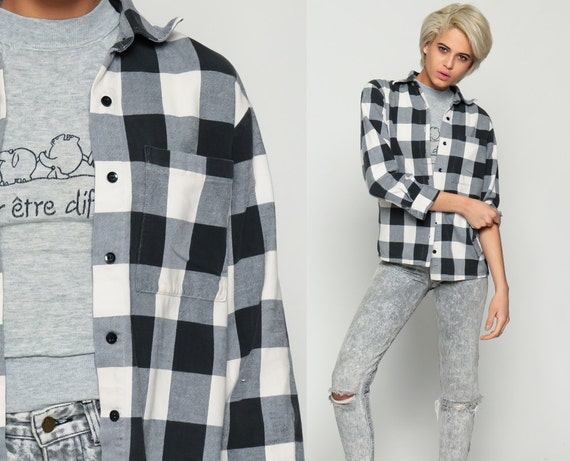 Black Flannel Shirt Buffalo Plaid Shirt 90s Grunge Long Sleeve