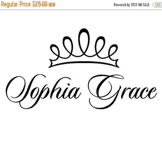 "ON SALE Princess Wall Decal with Personalized Name - Girl Room Decor Vinyl Lettering Transfer 16""h x 32""w FN0171"