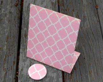 "Baby Girl Nursery Magnetic Memory Board - Pink Quatrefoil Fabric - (6"" x 8"") Freestanding"