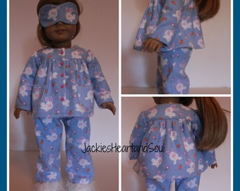 Flannel Pajamas Blue Bunnies Pants Top Sleep Mask Knitted Slippers