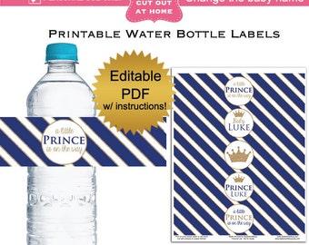 DIY editable printable water bottle labels PDF navy prince gold glitter baby boy shower favors Digital File (No.56)