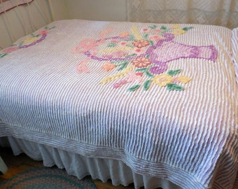 """Vintage Lavender Purple Chenille Bedspread with Basket of Flowers 107"""" by 92"""""""