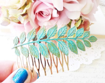 Verdigris Leaf Branch Hair Comb - Woodland Branch Hair Comb - Verdigris Green Blue Patina Leaf Hair Comb - Woodland Hair - Wedding Hair