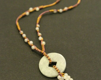 Jade Money Coin Necklace, Jade beads necklace, String necklace, Birthday Gift