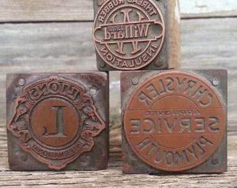 Vintage Advertising Wood And Copper Print Block Blocks Letterpress Stamp Set of Three