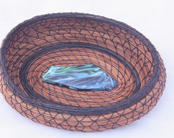 Pine Needle Basket Blue n Green Glass Center- Item 776 by Susan Ashley