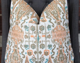 Orange Ikat Pillow Cover, Designer Pillow, Throw Pillow, Decorative Pillow, Toss Pillow, Khaki Pillow, Home Furnishing