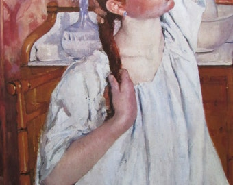 Mary Cassatt- Girl Arranging Her Hair, 1886, 9 x 11 in. Reproduction Impressionist Print,Color Plate, 1970 Book Page