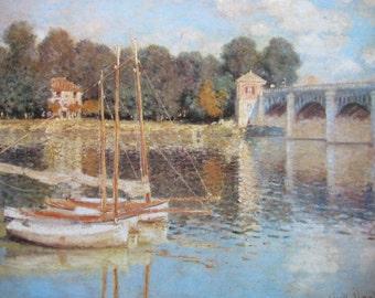 Claude Monet- The Bridge at Argenteuil, 1874, 9 x 7 in. Reproduction Impressionist Print,Color Plate, 1970 Book Print