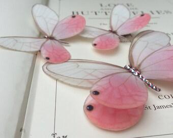 Hand Cut silk butterfly hair clips - Blush Pinks Trio