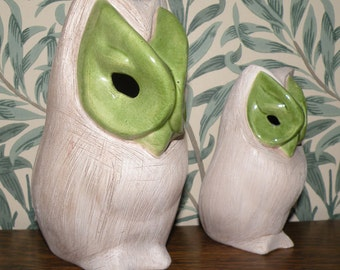 Brayton Laguna Pottery OWLS with Lime Green Eyes