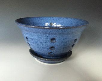 Bright Blue Stoneware Berry Bowl or Colander