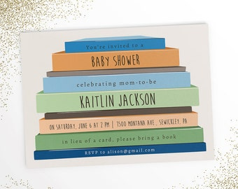 Book Shower Baby Shower Invitation in Blue Orange and Green with Backer