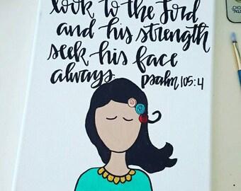 Psalm105:4 woman 8x10 canvas