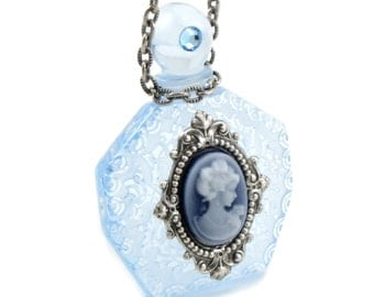 SALE 50% OFF Strange Brew - Gothic Lolita Necklace with Vintage Blue Etched Acrylic Perfume Bottle and Cameo - by Ghostlove