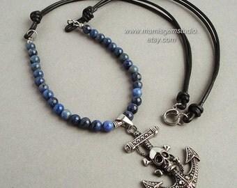 Denim Blue Stone & Leather Mens Long Necklace, Pirate Skull Anchor Pendant, Dumortierite, Guys, Him, Biker