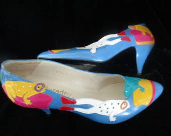 Paradox by Zalo Pumps  Leather Shoes  Frogs & Lilly Pads  Shoes Very Colorful Women's Vintage 80's Shoes SWEET RIB BIT