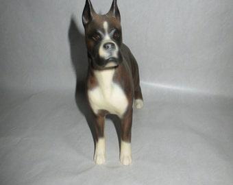 Male Boxer Dog Tiger Coat Male Dog Standing-Porcelain  Boxer Figurine -Signed Gaylar-  Stamped 83- Vintage Boxer Dog Figurine