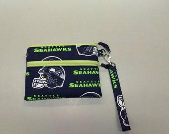 "Handmade Seattle Seahawks NFL stadium size wristlet purse 4.5"" x 6.5"""