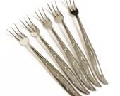 Vintage 1960s Stainless 5 Pc Seafood Fork Set / Mid Century Atomic Starburst Pattern