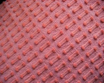Coral Buttonhole by Morgan Jones Vintage Cotton Chenille Bedspread Fabric 18 x 24