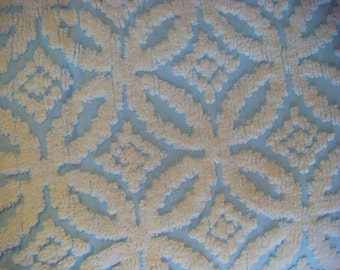 Blue and White Sculpted Wedding Ring Vintage Cotton Chenille Bedspread Fabric 18 x 24 Inches