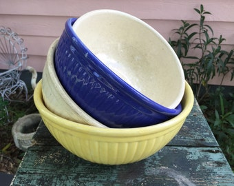 VINTAGE BOWLS -4 BATTER Bowls, Yellow, Blue, and 2 Off White, Pottery Batter Bowls Crackled Bowls, Farmhouse Decor at A Vintage Revolution