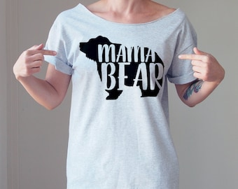 Customize Your Own Shirt Mama Bear Off The Shoulder Top Graphic Tee Customized  Custom Tshirt