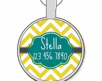 Chevron Stripes Personalized Dog ID Pet Tag Custom Pet Tag You Choose Tag Size & Colors (Dandelion Color)