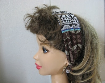 Yoga Hair Band, Tribal Print, Stretch Hair Band, Elastic Head Band, Fabric Head, Boho Scarf, Jersey Hair Wrap, Wrap Scarf  #353