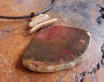 Large Petrified Wood, Limestone necklace  - macrame pendant - natural stone statement jewellery - big bold gem stone necklace